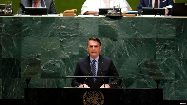 El presidente de Brasil, Jair Bolsonaro, ofreció el martes 24 de septiembre de 2019 el discurso tradicional de su país en la apertura del debate general de líderes mundiales a la Asamblea anual de la ONU.